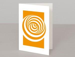 Orange Abstract Circles Design A5 Greetings Card