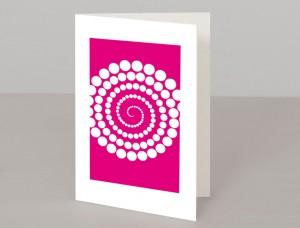 Pink Abstract Circles Design A5 Greetings Card