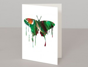 Green Butterfly A5 Greetings Card