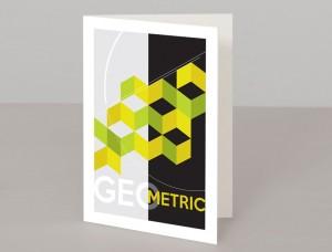 Green Geometric Design A5 Greetings Card