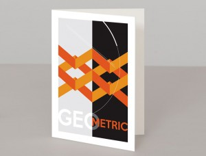 Orange Geometric Design A5 Greetings Card