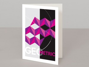 Purple Geometric Design A5 Greetings Card