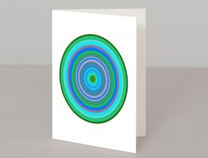 Green Pop Art Target A5 Greetings Card