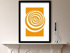 Orange Abstract Circles Design Art Print