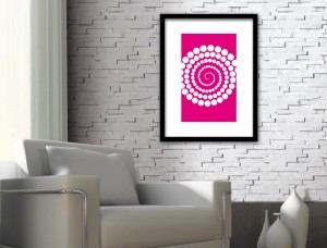 Pink Abstract Circles Design Art Print