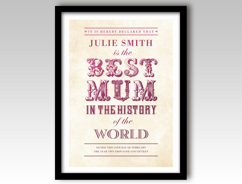 world s best mum vintage typographic personalised print postermode