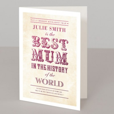 World's Best Mum vintage typographic personalised print