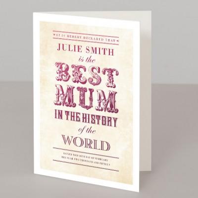 World's Best Mum vintage typographic personalised print